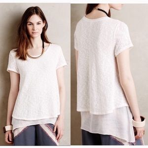 Anthropologie Meadow Rue Faria White Layered Top S